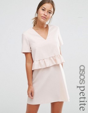 photo Short Sleeve Double Layer Ruffle Dress by ASOS PETITE, color Blush - Image 1