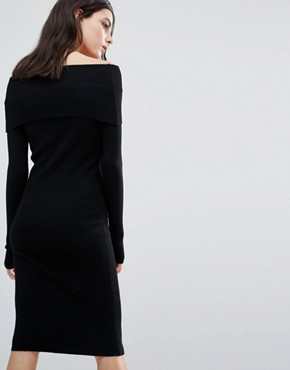 photo Off The Shoulder Knitted Dress by Noisy May Petite, color Black - Image 2