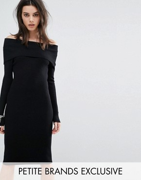 photo Off The Shoulder Knitted Dress by Noisy May Petite, color Black - Image 1