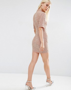 photo Pearl Scatter Mini Bodycon Dress by ASOS PREMIUM, color Nude - Image 2