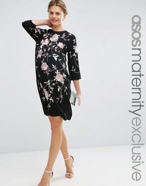 photo Embroidered Shift Dress by ASOS Maternity, color Black - Image 1