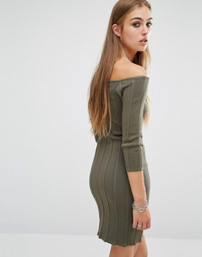 photo Erin Off Shoulder Rib Dress by Rock & Religion, color Khaki - Image 2
