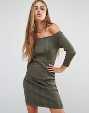 photo Erin Off Shoulder Rib Dress by Rock & Religion, color Khaki - Image 1