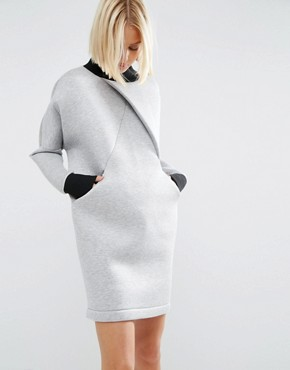 photo Cross Front Sweater Dress by ASOS WHITE, color Grey - Image 1