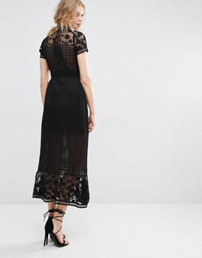 photo Elodie Pleated Lace Cutwork Midi Dress by Foxiedox, color Black - Image 2