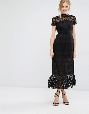 photo Elodie Pleated Lace Cutwork Midi Dress by Foxiedox, color Black - Image 1