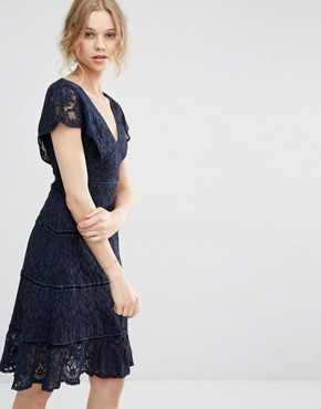 photo Lace Deep V Midi Dress by Foxiedox, color Navy - Image 1
