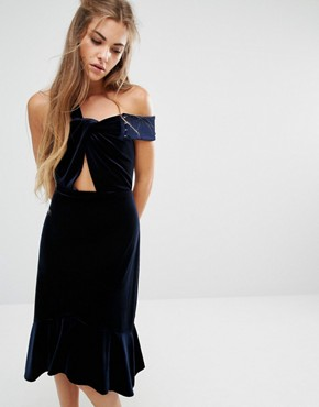 photo Margaux Off The Shoulder Frill Hem Velvet Dress by Foxiedox, color Navy - Image 1