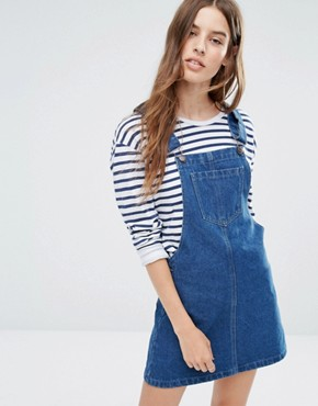 photo Pinafore Dress with Back Slogan by Liquor & Poker, color Dark Wash Blue - Image 2