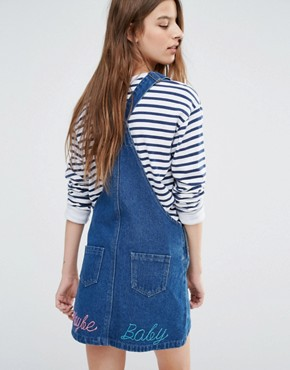 photo Pinafore Dress with Back Slogan by Liquor & Poker, color Dark Wash Blue - Image 1