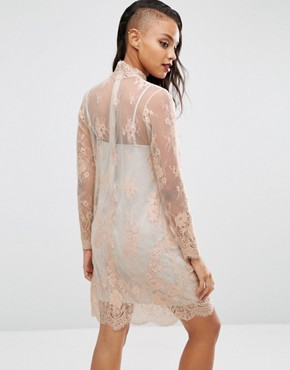 photo Lace Shift Dress with Grey Marl Lining by ASOS, color Nude - Image 2
