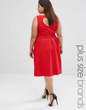photo Skater Dress with Heart Back by Lovedrobe Plus, color Red - Image 2
