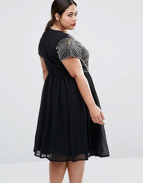 photo Skater Dress with Heavily Embellished Top by Lovedrobe Plus, color Black - Image 2