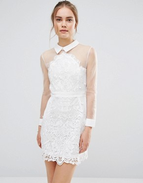 photo Sheer Lace Shirt Dress by Endless Rose, color White - Image 1