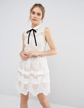 photo Contrast Collar Tierred Lace Mini Dress by Endless Rose, color White - Image 1