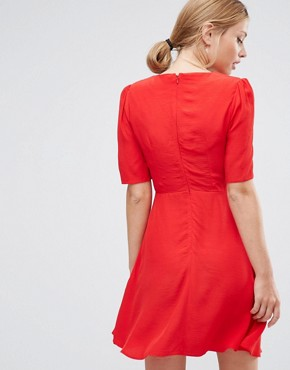 photo Woven 3/4 Sleeve Tea Dress With Sweetheart Neckline by ASOS, color Red - Image 2
