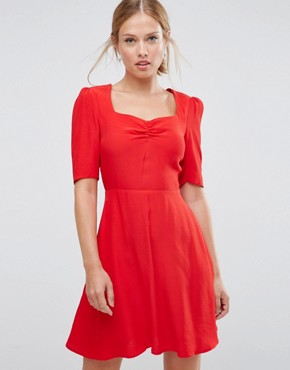 photo Woven 3/4 Sleeve Tea Dress With Sweetheart Neckline by ASOS, color Red - Image 1