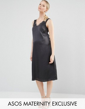 photo Lattice Detail Midi Slip Dress by ASOS Maternity, color Black - Image 1
