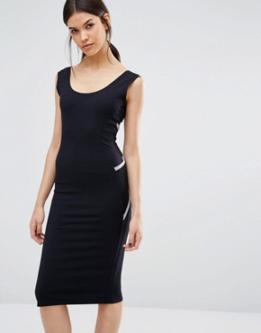photo Wrap Back Bodycon Midi Dress by Quontum Tall, color Black/Silver - Image 2