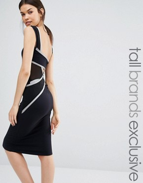 photo Wrap Back Bodycon Midi Dress by Quontum Tall, color Black/Silver - Image 1