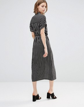 photo Midi Shirt Dress In Stripe by Style London, color Black/White - Image 2
