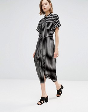photo Midi Shirt Dress In Stripe by Style London, color Black/White - Image 1