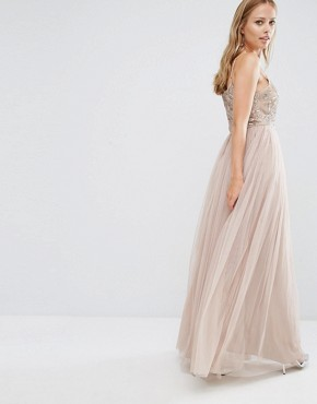 photo Cami Strap Maxi Dress with Tulle Skirt and Embellishment by Maya, color Mink - Image 2