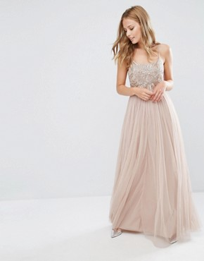 photo Cami Strap Maxi Dress with Tulle Skirt and Embellishment by Maya, color Mink - Image 1