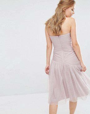 photo Bandeau Midi dress with Pleated Lace Detail by Little Mistress, color Mink - Image 2