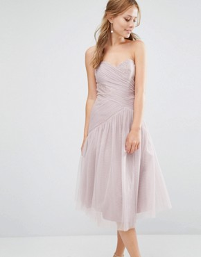 photo Bandeau Midi dress with Pleated Lace Detail by Little Mistress, color Mink - Image 1