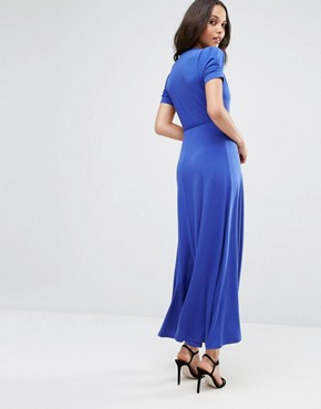 photo Crepe Wrap Maxi Dress With Cap Sleeves by ASOS, color Cobalt Blue - Image 2