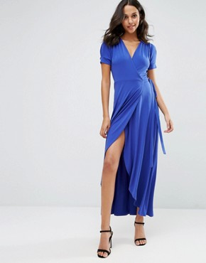 photo Crepe Wrap Maxi Dress With Cap Sleeves by ASOS, color Cobalt Blue - Image 1