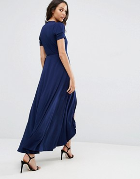 photo Crepe Wrap Maxi Dress With Cap Sleeves by ASOS, color Navy - Image 2
