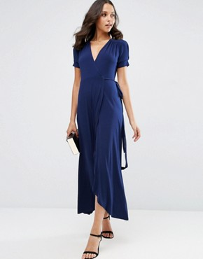 photo Crepe Wrap Maxi Dress With Cap Sleeves by ASOS, color Navy - Image 1