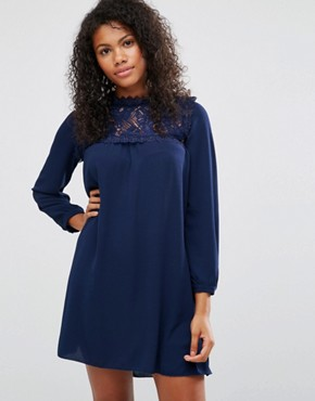 photo Smock Dress With Lace Front by Brave Soul, color Royal Navy - Image 1