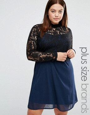 photo 2 In 1 High Neck Lace Bodice Swing Dress by Junarose, color  - Image 1