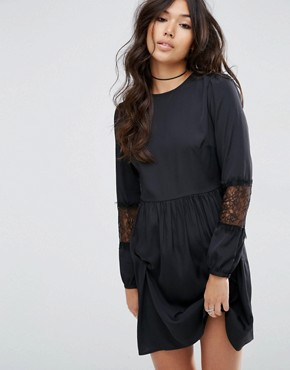 photo Long Sleeve Mini Dress with Lace Insert by ASOS, color Black - Image 1