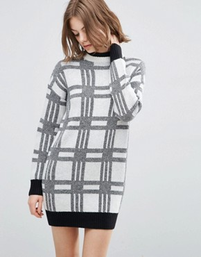 photo Knitted Dress in Check with High Neck by ASOS, color  - Image 1