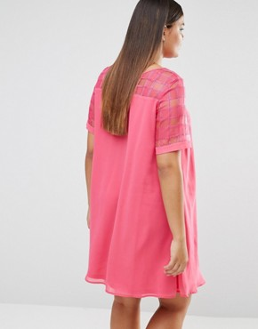 photo Mesh Insert Shift Dress by Lovedrobe, color Pink - Image 2