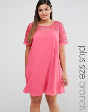 photo Mesh Insert Shift Dress by Lovedrobe, color Pink - Image 1