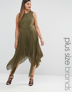 photo Pleated Sleeveless Midi Dress with Asymetric Hem by Lovedrobe, color Green - Image 1