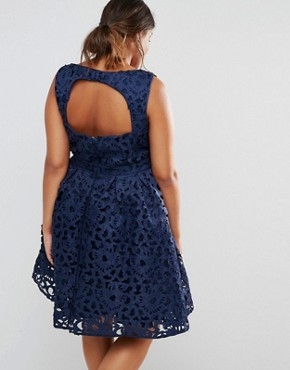 photo Cutwork Lace Prom Dress with Cut Out Back by Chi Chi London Plus, color Navy - Image 2