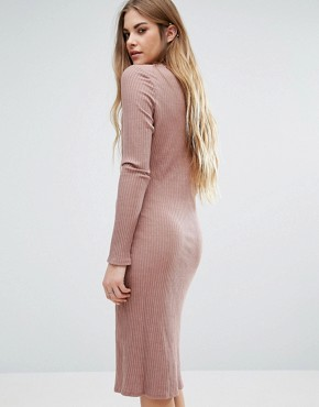 photo Long Sleeve Plunge Front Dress In Pink by NYTT, color Mauve - Image 2