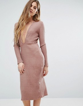 photo Long Sleeve Plunge Front Dress In Pink by NYTT, color Mauve - Image 1