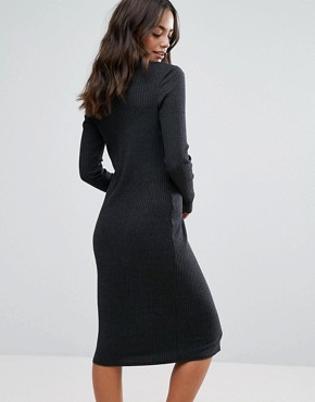 photo Long Sleeve Plunge Front Dress In Black by NYTT, color Black - Image 2