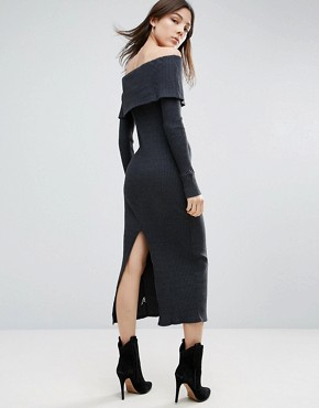 photo Long Sleeve Off The Shoulder Maxi Dress by NYTT, color Black - Image 2