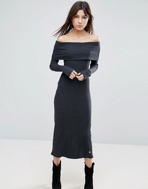photo Long Sleeve Off The Shoulder Maxi Dress by NYTT, color Black - Image 1