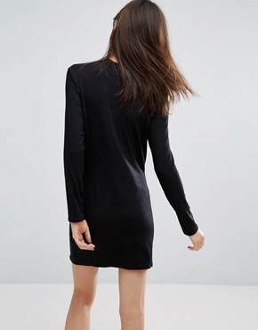 photo High Neck Mini Dress with Slash Front by NYTT, color Black - Image 2