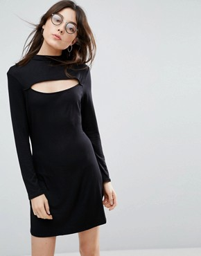 photo High Neck Mini Dress with Slash Front by NYTT, color Black - Image 1