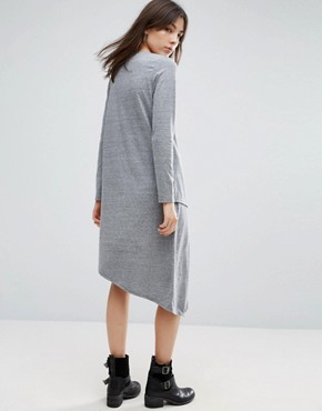photo Asymmetrical Long Sleeve Dress by NYTT, color Heather Grey - Image 2